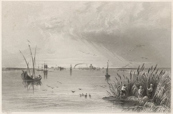 Hunting duck at the mouth of the Danube, which flows into the Black sea at Sulina. Date: circa 1840