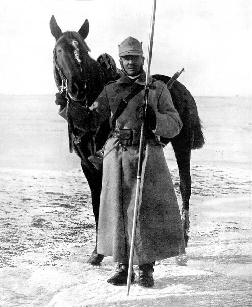 A photograph of a Romanian cavalryman and his horse taken from the front cover of the Illustrated London News, published shortly after Romania entered the war on the Allies' side in August 1916