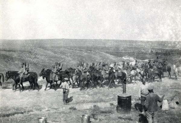 Romanian soldiers retreating on horseback during the First World War. Date: circa 1916