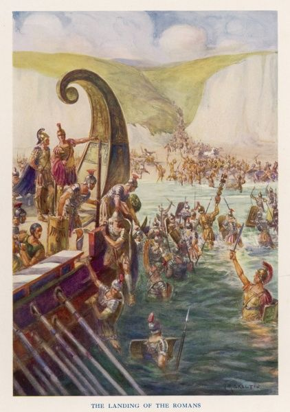 Following his preliminary expedition of 55 BC, Julius Caesar and his 5 Roman legions (25,000 men) and 2,000 cavalry land again in Britain between Deal and Dover