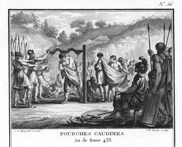 Defeated by the Samnites in the so-called Battle of the Caudine Forks, the Roman army is forced to surrender, strip off their clothes and pass beneath a yoke as a symbol of servitude