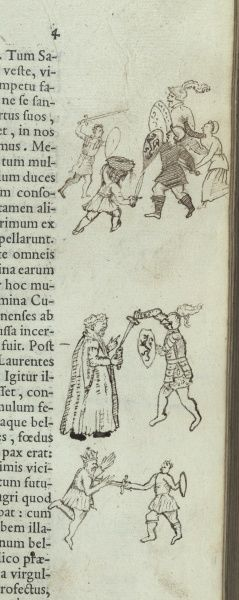 Marginal drawings depicting combat between the Romans and the Sabines