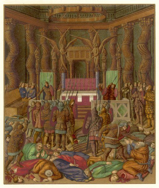 The Romans, led by Titus, take Jerusalem, and burst into the Holy of Holies in the Temple