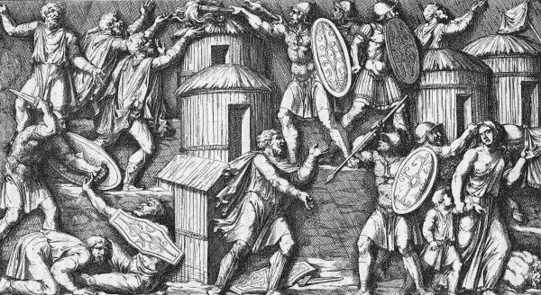 ROMANS IN GERMANY Romans torch a German village and drive away its inhabitants Date: circa 1
