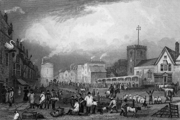 The market place at Romford, Essex, on a busy day. Date: circa 1830