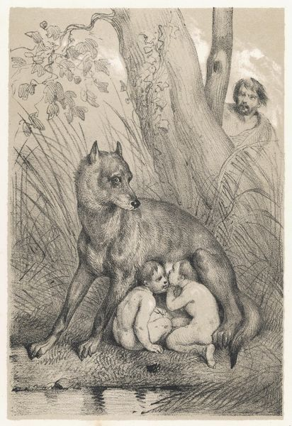 Romulus and Remus are fostered by a kindly she-wolf, and live to found the Roman state
