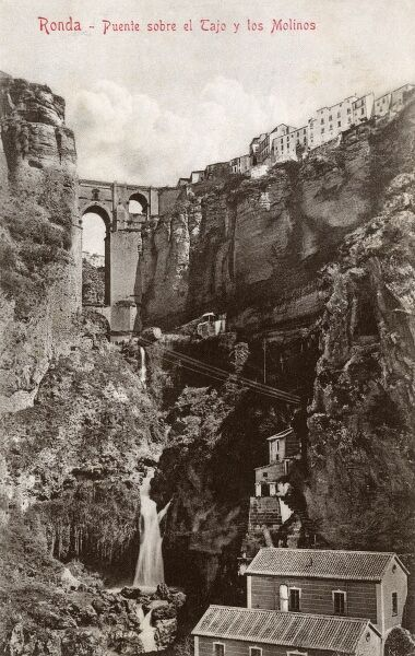 Ronda, Spain - Bridge over the Tagus and the Mills Date: circa 1908