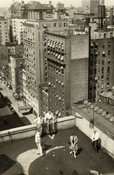 Hotels in New York (Hotel Ogden in this photo) built golf courses, and even held tournaments, to keep the businessman's mind off the Depression