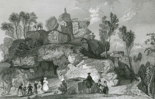 A party of tourists admire the Rooter or Roo Tor Rocks, in the Derbyshire Peak District Date: 1837