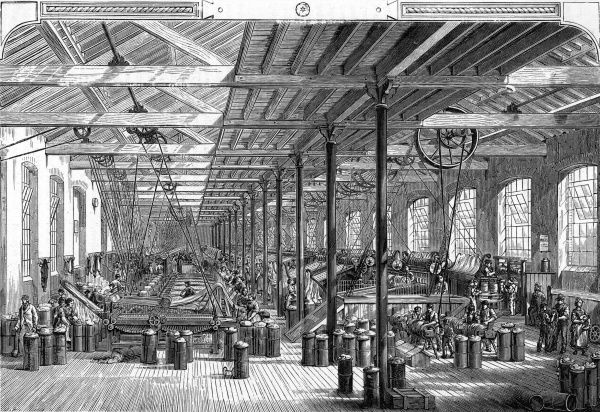 The spinning room in Frost Brothers factory, Shadwell, England. Date: circa 1885