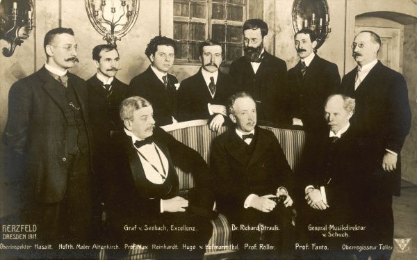 Richard Strauss with Max Reinhardt (3rd from left, back), librettist Hoffman- sthal (behind the composer) and other VIPs, on the first night at Dresden, 26.1.1911