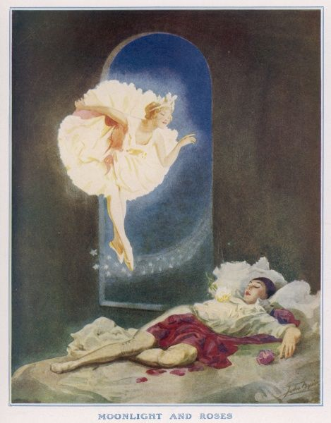 A fantasy illustration depicting Pierrot asleep on his bed while a fairy, possibly Columbine appears through a window on a carpet of stars