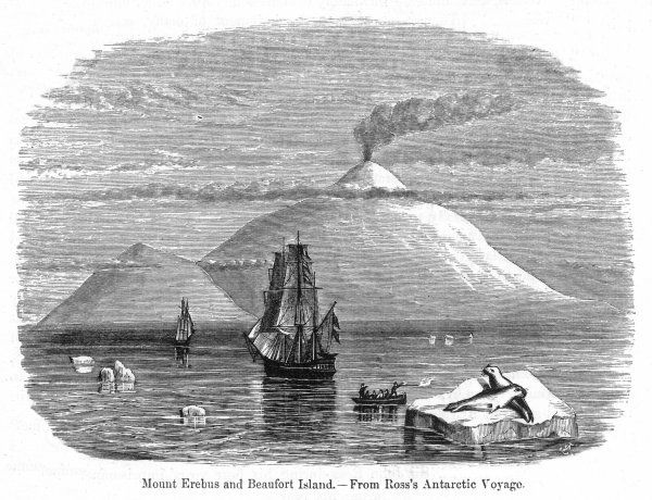 The 'Erebus' and 'Terror' in open water off James Ross Island, with the active volcano Mount Erebus in the distance