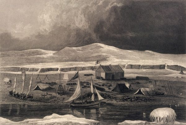 John Ross's arctic expedition: an external scene showing Somerset House, Fury Beach, North Somerset
