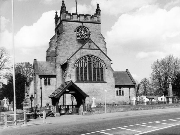 Rossett Church, Denbighshire, Wales. Date: 1960s photo