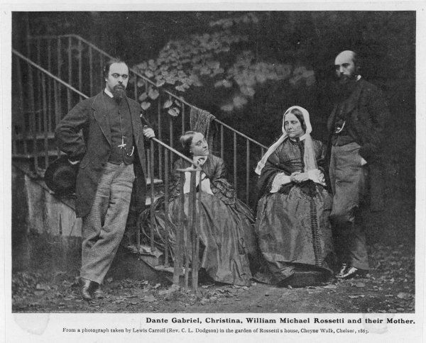 Poet and artist, Dante Gabriel Rossetti (1828-1882), with his sister Christina, his brother William Michael, and their mother in a photograph by Lewis Carroll (Rev CL Dodgson), 1863