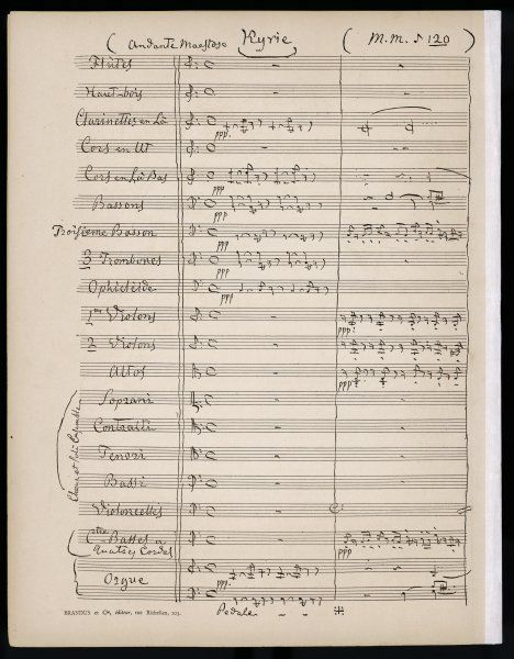 First page of a full orchestral score, listing woodwind, brass, strings, four-part chorus and organ