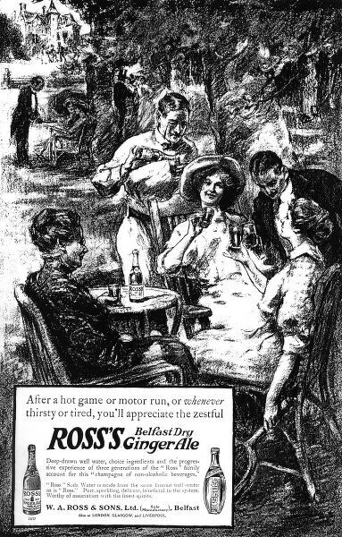 Advertisement for Rosss Belfast Dry Ginger Ale from 1913