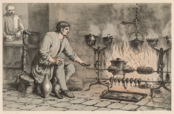 A turnspit turns a spit on which joints of meat and gamebirds are roasting