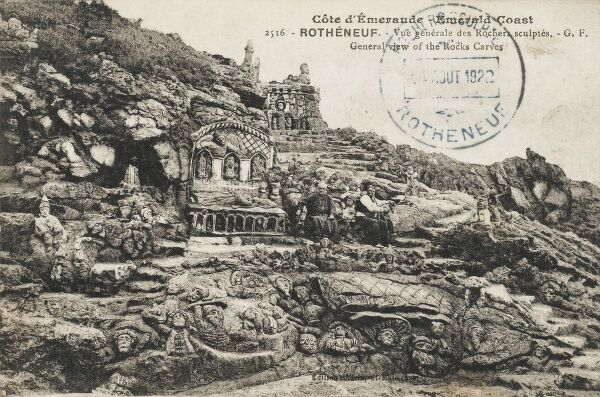 "Rotheneuf, France - The Emerald Coast - The Rock Carvings. The village is a seaside resort but is famous for its sculpted rocks, ""rochers sculpts"". Abb Four (1839-1910), having suffered a stroke at the age of 30, which left him paralyzed on one side"