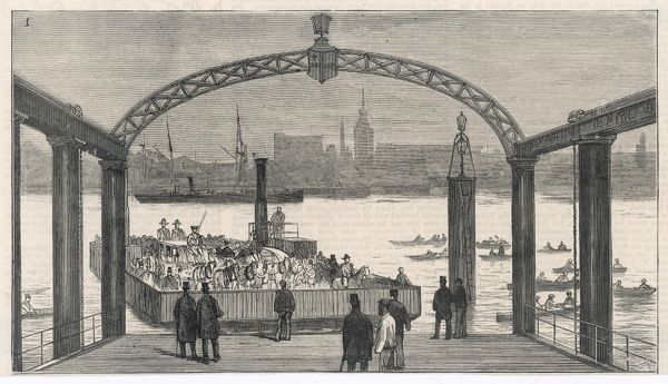 The steam ferry across the Thames at Rotherhithe, one of the few crossings below London Bridge : carrying not only foot passengers but a coach with footmen, also carts