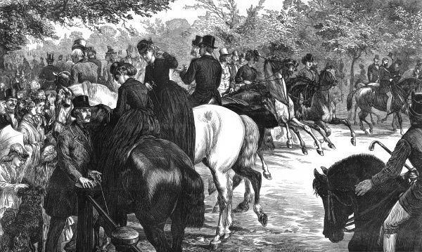 Riders and their friends in Rotten Row, Hyde Park, the recognised meeting-place for fashionable society on a fine summer's day