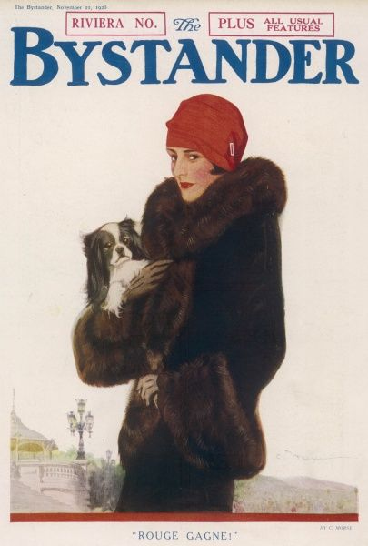 Rouge Gagne!. 1920s cover illustration of The Bystander's Riviera Number showing a woman in fur coat and red cloche hat holding a dog
