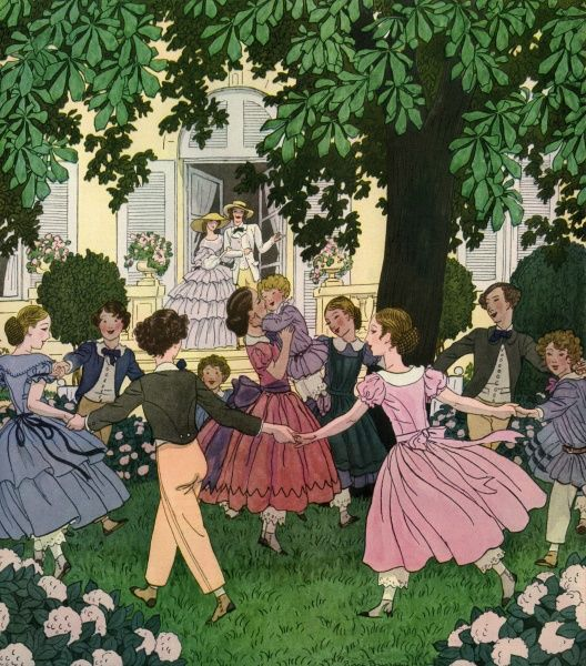 Here We Go Round the Mulberry Bush. Artist: Pierre Brissaud. Children dancing round a chestnut tree Date: 1927