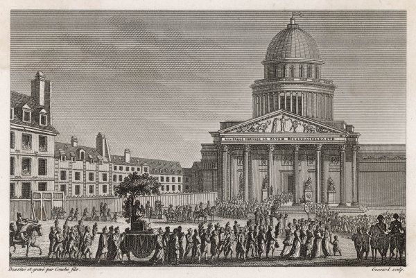 The remains of Jean-Jacques Rousseau are transferred to the Pantheon, Paris, with much ceremony, during the Revolution