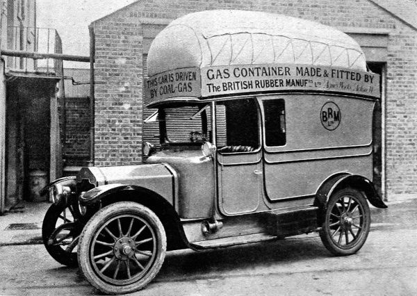 A Rover car fitted with a neatly made coal-gas installation
