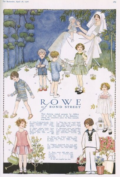 Advertisement featuring various illustrations of children playing wearing 1920s fashions. At the top of the page is a nurse or nanny has a baby on her lap