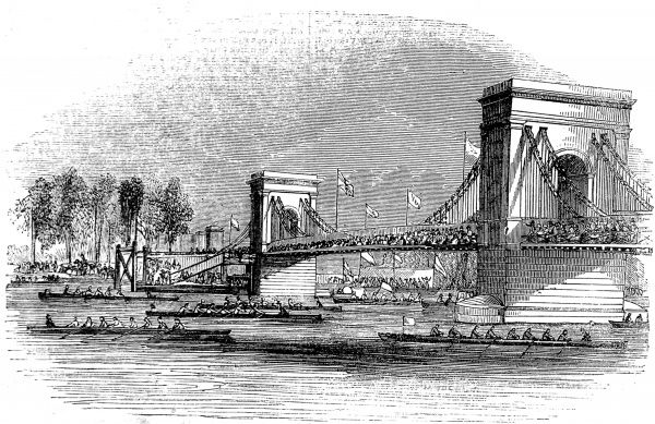 Engraving showing rowing boats, participating in the Thames Regatta of 1843, passing Hammersmith suspension bridge
