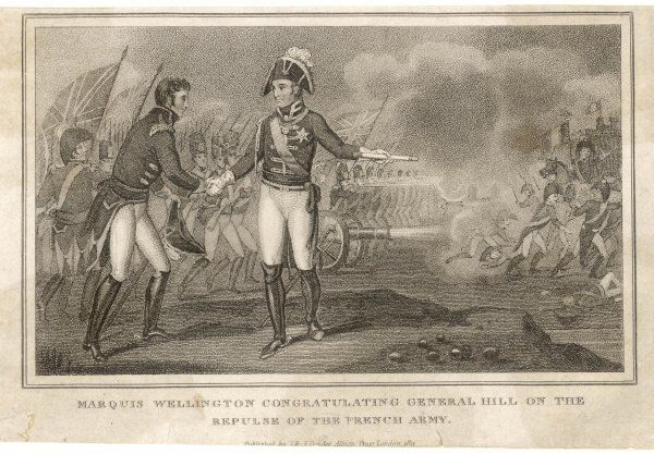 Rowland, first viscount HILL military commander, congratulated by the duke of Wellington after one of the many brilliant battles he fought in the Peninsula war