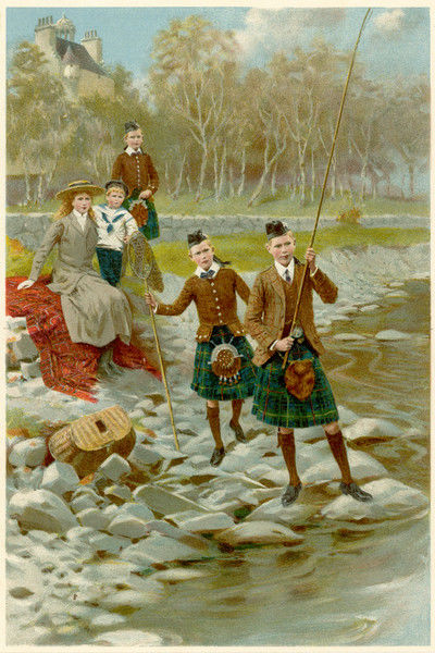 The younger children of king George V & Mary, fishing at Balmoral (the one holding the rod is presumably the future George VI)