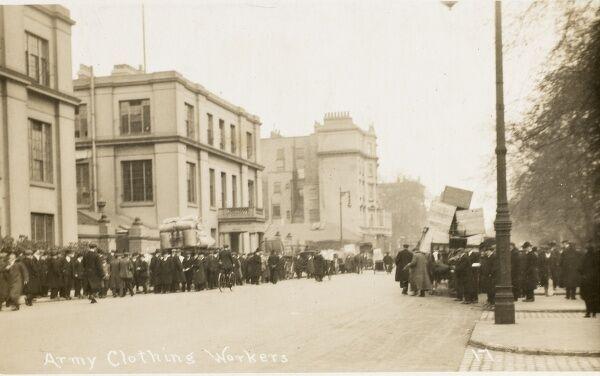 Royal Army Clothing Department (now demolished) and workers, Pimlico, London