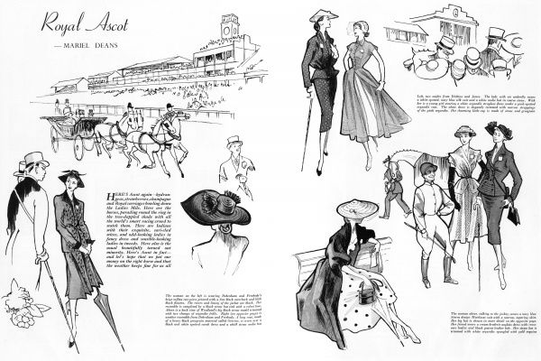 A selection of fashionable outfits for Royal Ascot from Debenham and Freebody and Dickins and Jones. Date: 1951