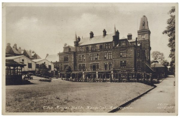 The Royal Bath Hospital, opened in 1824 at Harrogate, Yorkshire, to provide spa treatment for the poor. It was rebuilt in 1889 and closed in 1994. Date: 1940s