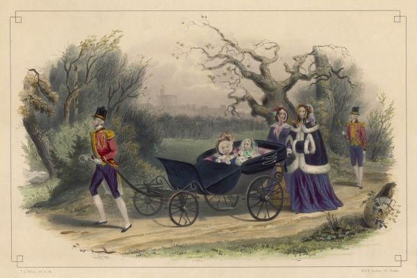 Albert Edward, Prince of Wales (later King Edward VII, 1841- 1910) and his elder sister Victoria, Princess Royal ( 1840-1901) are wheeled through Windsor Forest in a carriage