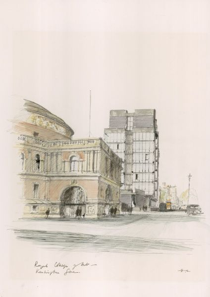A watercolour and pen painting of The Royal College of Art, London. The Illustrated London News featured a long running series of paintings of London's architecture by Sir Hugh Maxwell Casson during the late 1960s and through the 1970s