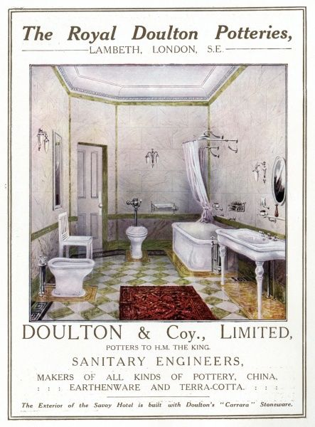 A bathroom from the Royal Doulton Potteries Date: 1912