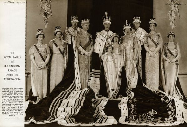 The official photograph of The Royal family at buckingham Palace on the Coronation day, 12 May 1937 showing (left to right) H.R.H The Princess Royal, H.R.H The Duchess of Gloucester, H.R.H The Duke of Gloucester, H.M. Queen Mary, H.M. King George VI, with H