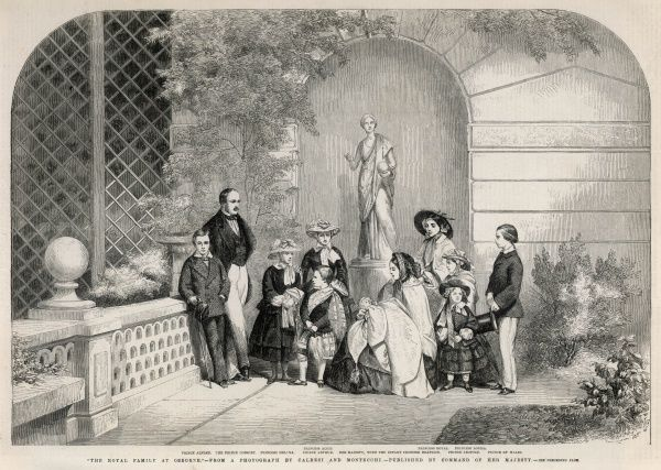 Engraving of Queen Victoria and her family taken from a photograph by Caldesi and Mantecchi. From left; Prince Alfred, The Prince Consort, Princess Helena, Princess Alice, Prince Arthur, Queen Victoria with Princess Beatrice, Princess Royal