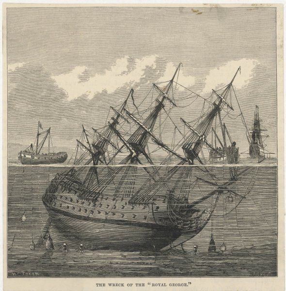 Raising the the wreck of the Royal George, which sunk in 1782