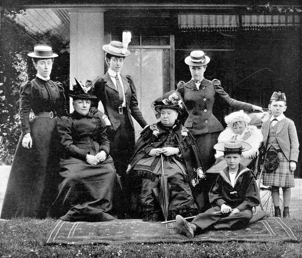 A royal group at Balmoral, Scotland in 1898 showing, from left; Princess Victoria of Schleswig-Holstein, The Princess Leiningen, Princess Victoria of Wales, Queen Victoria, Princess Henry of Prussia, Prince Waldemar of Prussia and Prince Maurice