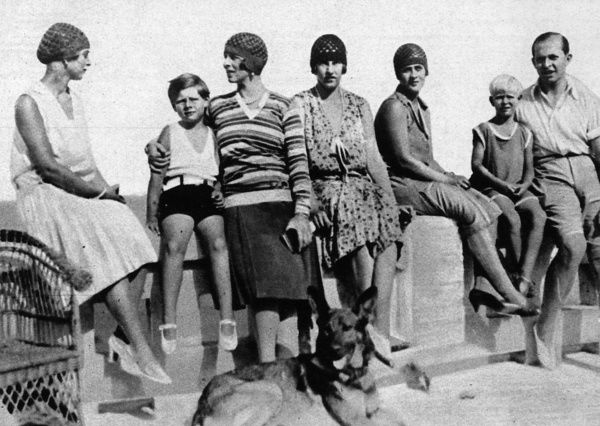 A royal group on holiday at the seaside at Mamaia on the shores of the Black Sea. From left, Princess Theodora of Greece, Prince Michael of Romania, Crown Princess Helen of Romania (formerly Princess Helen of Greece), Princess Irene of Greece