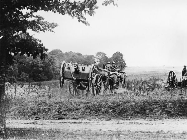 A Royal Horse Artillery 13 pounder battery at the gallop during training on the Western Front in France during World War I in June 1918