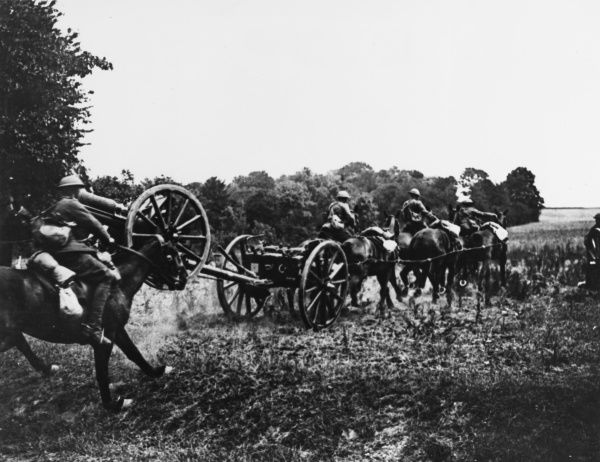 The Royal Horse Artillery going into action at the gallop on the Western Front in France during World War I in June 1918