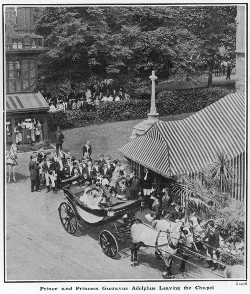 Princess Margaret of Connaught and her new husband, Prince Gustavus Adolphus of Sweden pictured leaving St. George's Chapel, Windsor in a carriage after their marriage on 15 June 1905