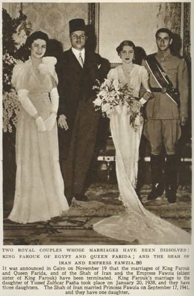 King Faruk of Egypt(1920-1965) pictured here with his wife Queen Farida(1921-1988), and the Shah of Iran and his wife Empress Fawzia(eldest sister of King Faruk)