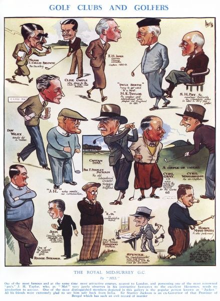Sketch showing members of the Royal Mid-Surrey Golf Club, including Sir Stanley Jackson, their captain. Date: 1933